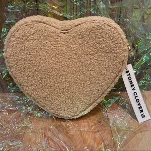 NWT Stoney Clover Lane Hazelnut Cozy Sherpa Heart Pouch